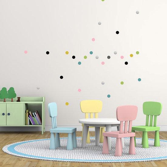 Pom Le Bonhomme Muurstickers confetti pastel - Pöm Le Bonhomme - set 80 stickers