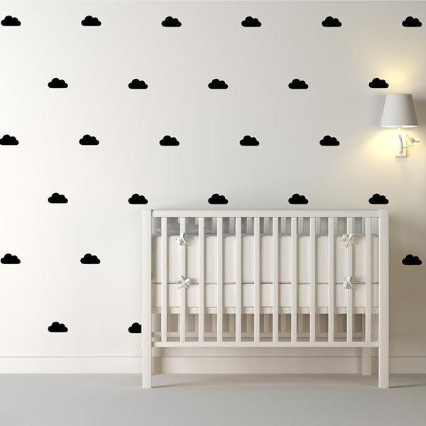 Pom Le Bonhomme Stickers muraux nuages noir - Pöm Le Bonhomme - set de 48  stickers