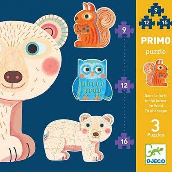 Djeco Djeco Primo puzzels in het bos - 3 legpuzzels +3 jr