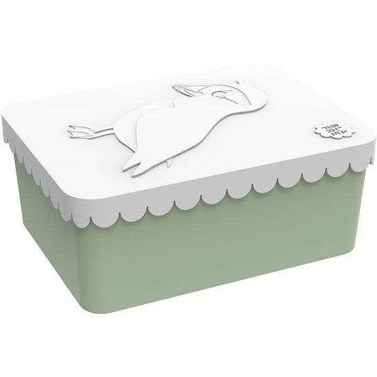 Blafre Lunchbox - brooddoos - papegaaiduiker - wit-mint - Blafre