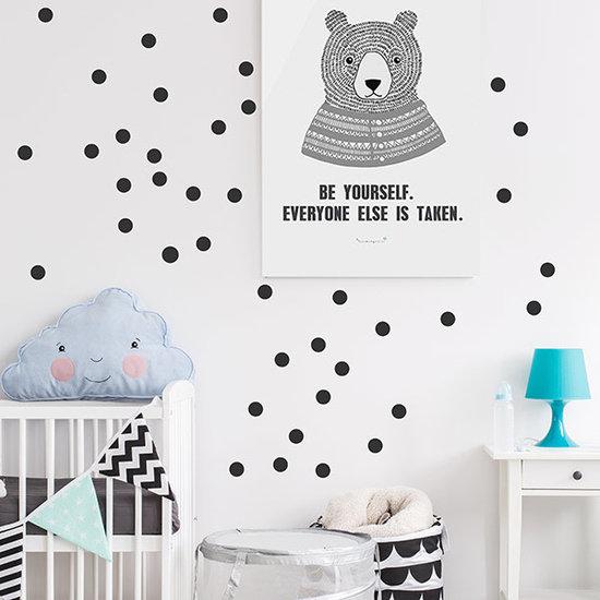 Pom Le Bonhomme Muurstickers confetti zwart - Pöm Le Bonhomme - set 80 stickers