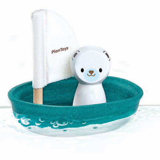 Plan Toys Bath toy - sailboat polar bear - Plan Toys +1 yr