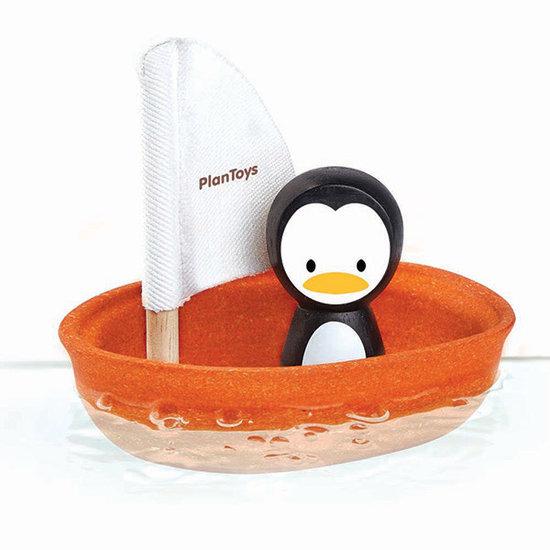 Plan Toys Bath toy - sailboat penguin - Plan Toys +1 yr