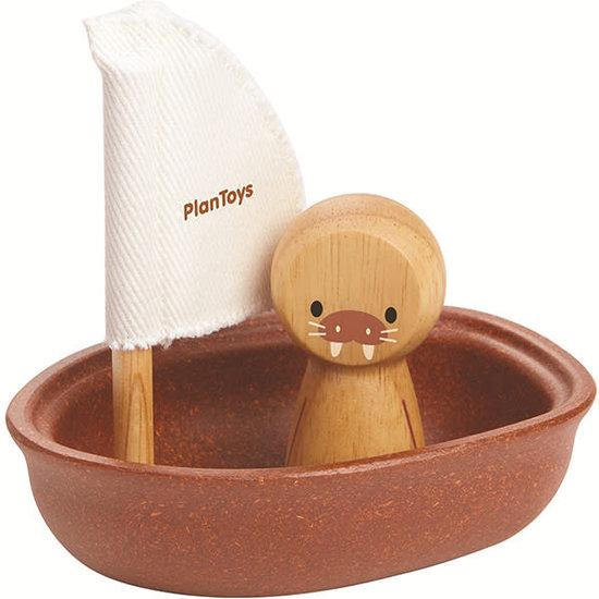 Plan Toys Bath toy - sailboat walrus - Plan Toys +1 yr