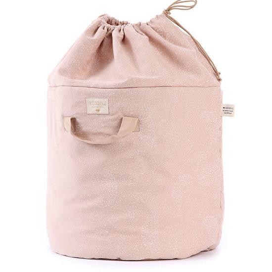 Nobodinoz tipi en accessoires Nobodinoz storage basket Bamboo L - Elements - White Bubble-Misty Pink