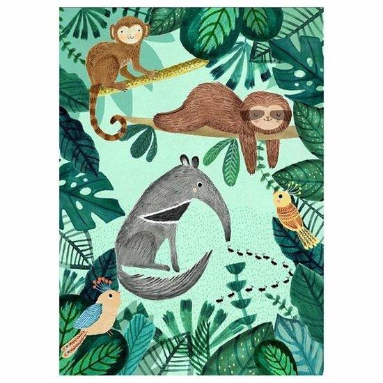 Petit Monkey Postkaart - miereneter en luiaard - Rebecca Jones - Petit Monkey