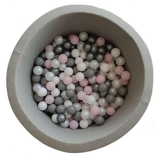 Little Thingz Ballenbad - grijs - incl 200 ballen wit-parel-grijs-zilver-pastel roze