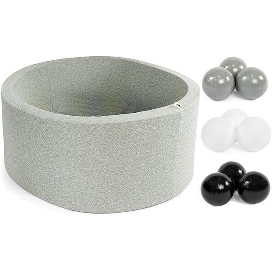 Little Thingz Bällebad - ball pit - rund - grau - inkl 200 bälle