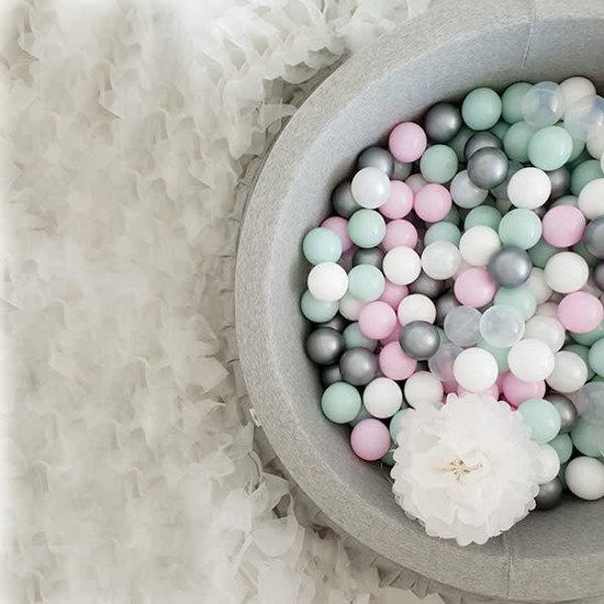 Little Thingz Ballenbad grijs 200 ballen wit-transparant-zilver-mint-pastel roze