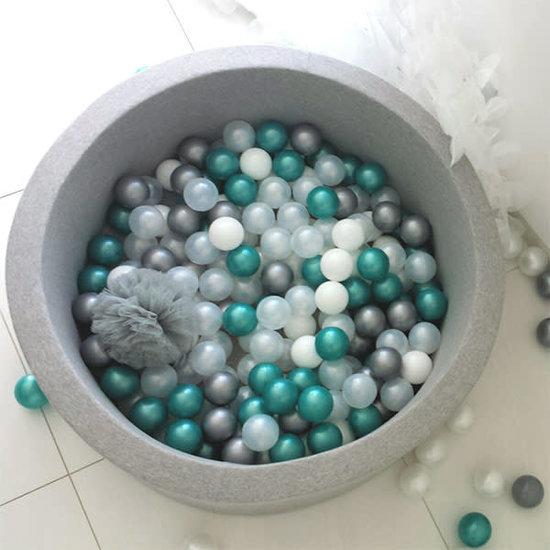 Little Thingz Ballenbad grijs 200 ballen wit-parel-transp-zilver-Metallic turquoise
