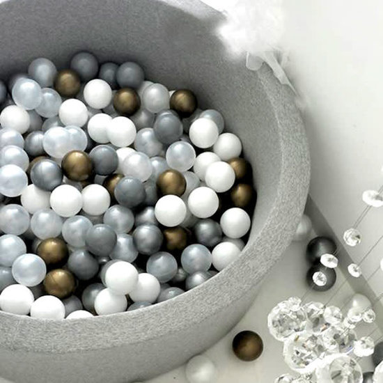 Little Thingz Bällebad - rund grau - inkl 200 bälle Gold-silber-weiss-Perle