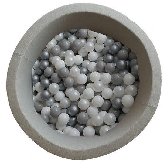 Little Thingz Bällebad - rund grau - inkl 200 bälle grau-silber-weiss-Perle