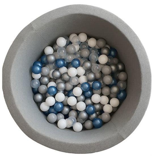 Little Thingz Ballenbad grijs incl 200 ballen wit-parel-grijs-zilver-metallic blauw