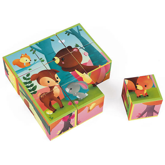 Janod speelgoed Block Puzzle - Forest Animals - Kubkid - Janod +2 yrs
