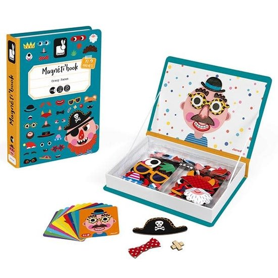 Janod speelgoed Janod - Magnetic Book Crazy Faces boy's - 82pcs 3-8yrs