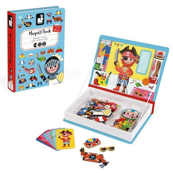 Janod speelgoed Janod - Magnetic Book Boy's Costumes - 44pcs 3-8yrs