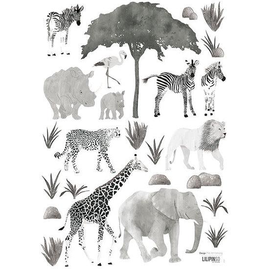 Lilipinso Muurstickers - wilde dieren - Serengeti - Lilipinso - A3