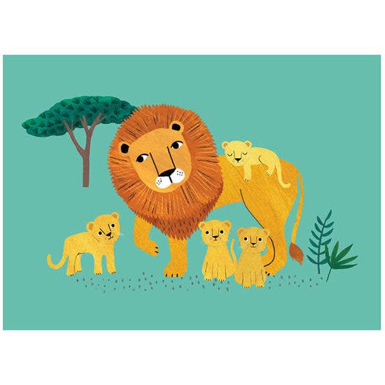 Petit Monkey Postkarte - Löwe und Junge - Rebecca Jones - Petit Monkey
