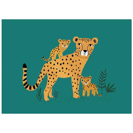 Petit Monkey Postcard - cheetah and cubs - Rebecca Jones - Petit Monkey