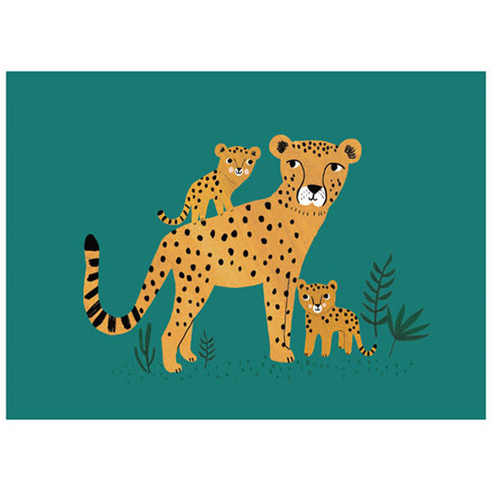 Petit Monkey Postkaart - cheetah en welpen - Rebecca Jones - Petit Monkey