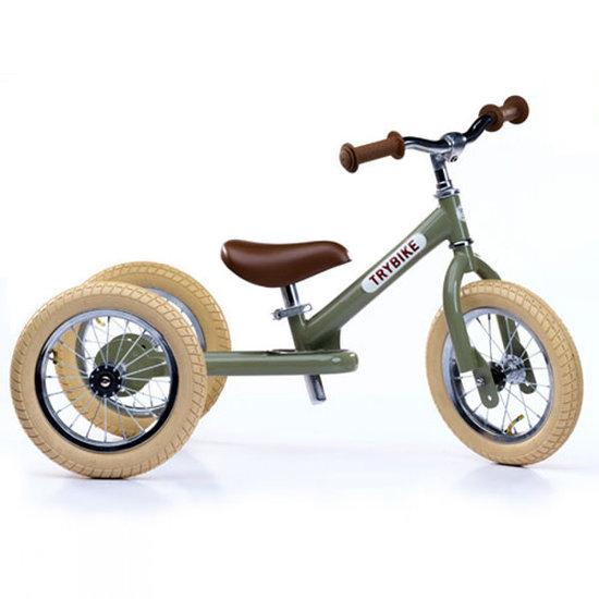 Trybike Loopfietsen Trybike Steel 2-in-1 loopfiets Vintage groen