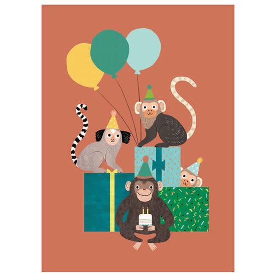 Petit Monkey Verjaardagskaart - apenbende - Rebecca Jones - Petit Monkey