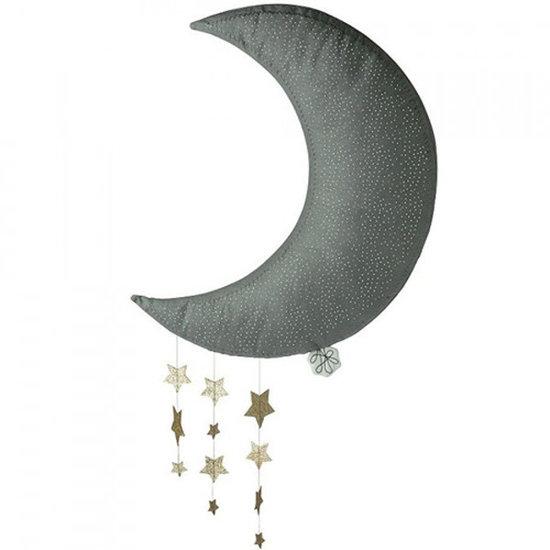 Picca Loulou Decoratie maan met sterren - grijs - 45 cm - Picca Loulou