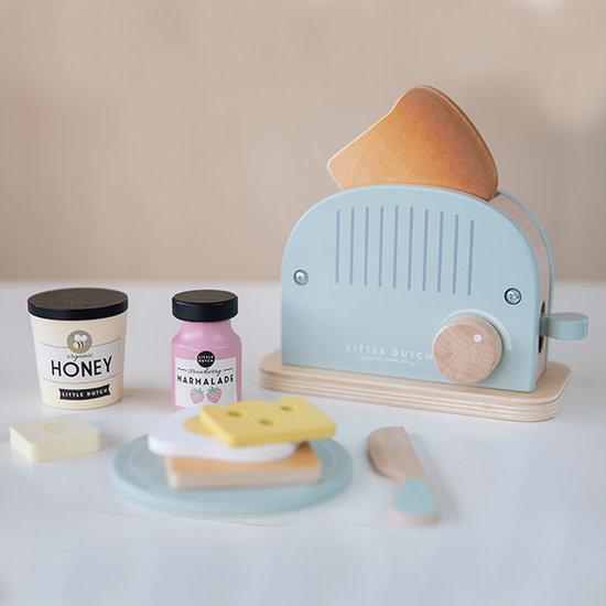 Little Dutch Wooden toaster set mint - 10 pieces - Little Dutch +3 yrs