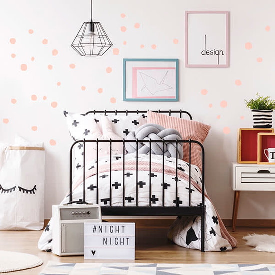 Pom Le Bonhomme Muurstickers Dots roze - Pöm Le Bonhomme - set 150 stickers