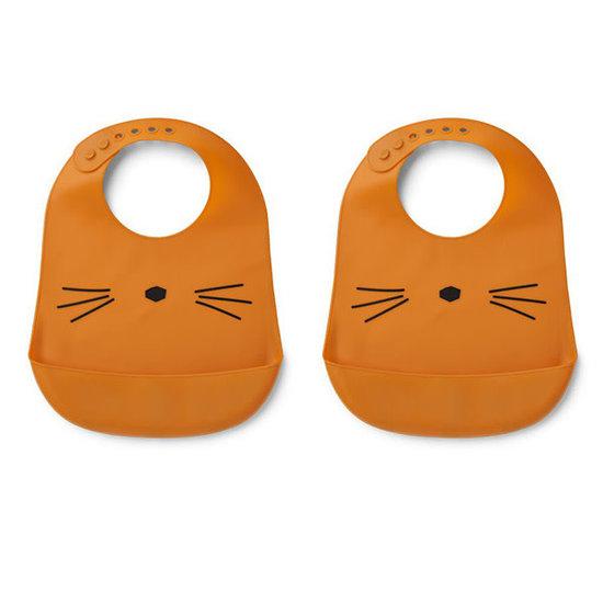 Liewood Bib - Tilda silicone bib Cat Mustard - Liewood 2 pack