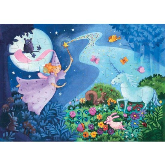 Djeco Enchanting fairytale puzzle silhouette - The fairy and the Unicorn - Djeco