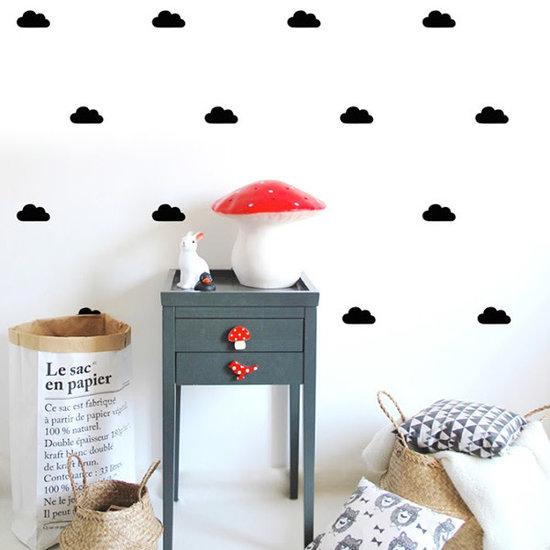 Pom Le Bonhomme Muurstickers wolkjes zwart - Pöm Le Bonhomme - set 48 stickers