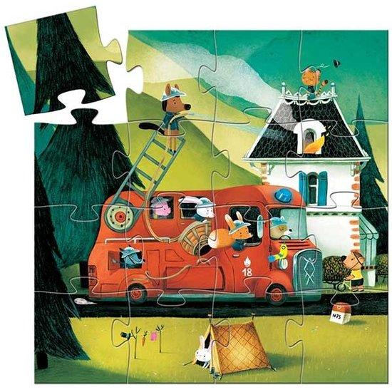 Djeco Puzzel brandweerwagen - Djeco - 16 stukjes - 3 jaar