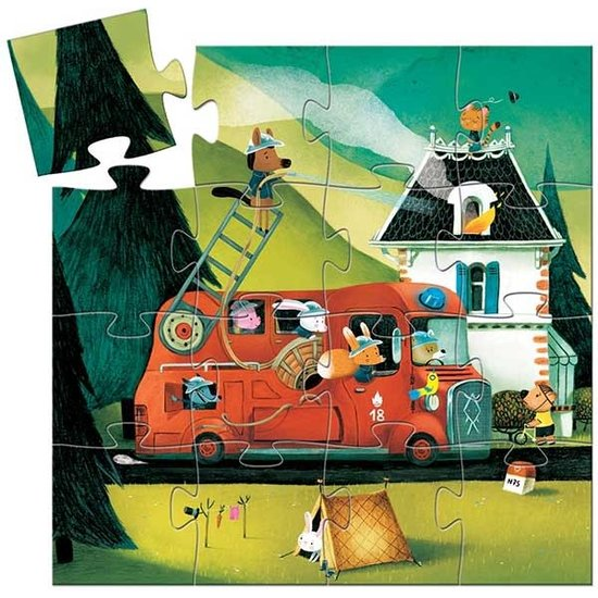 Djeco Puzzle Feuerwehrauto - Djeco - 16 Stück - 3 Jahre