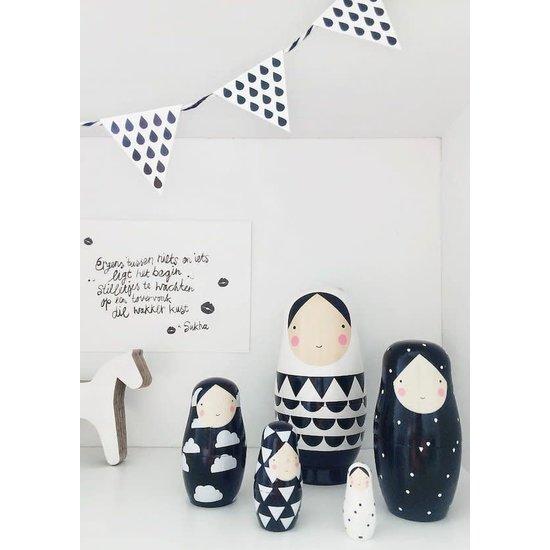 Petit Monkey Nesting dolls - black & white dolls - Petit Monkey