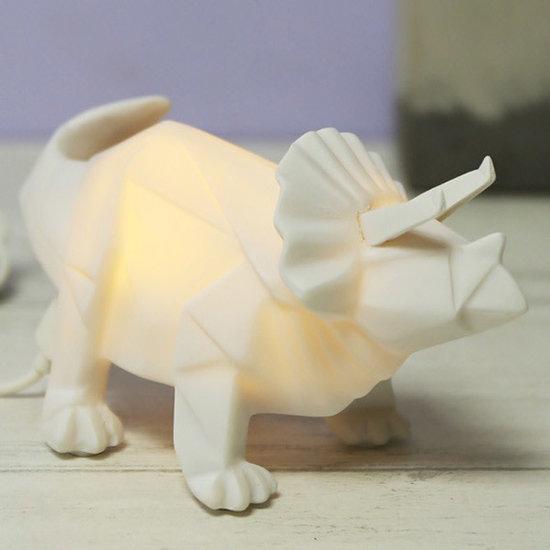 Disaster Designs Disaster Designs - MINI - origami - nachtlampje - dinosaurus - Triceratops - wit