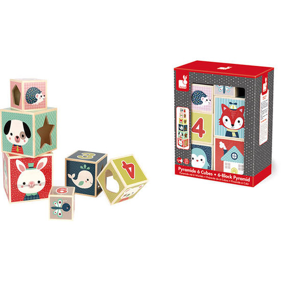 Janod speelgoed Janod - Pyramide - Spielwürfel - Stapelturm - Baby Forest +1 Jahr