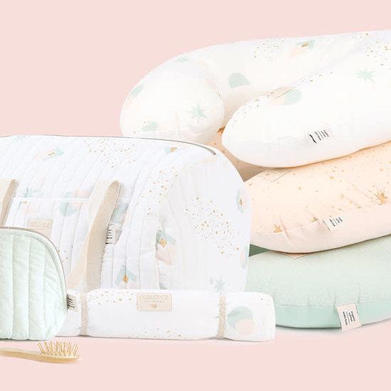 Nobodinoz tipi en accessoires Nobodinoz NY weekendtas - luiertas - Elements - Gold Stella-Dream Pink