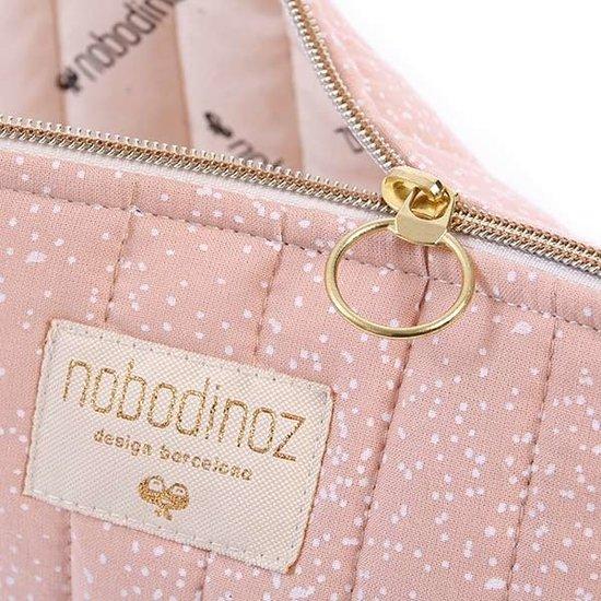 Nobodinoz tipi en accessoires Nobodinoz - toilettas - Holiday Large - White Bubble - Misty Pink