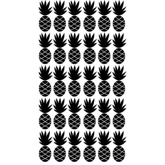 Pom Le Bonhomme Ananas muurstickers zwart - Pöm Le Bonhomme - set 30 stickers