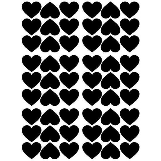 Pom Le Bonhomme Herzen Wandtattoo schwarz - Pöm Le Bonhomme - Set von 54 Aufkleber
