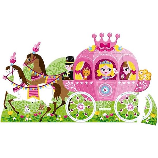 Janod speelgoed Puzzlekoffer - Prinzessinnen-Kutsche - Formpuzzle 1M - 39T - Janod +4J