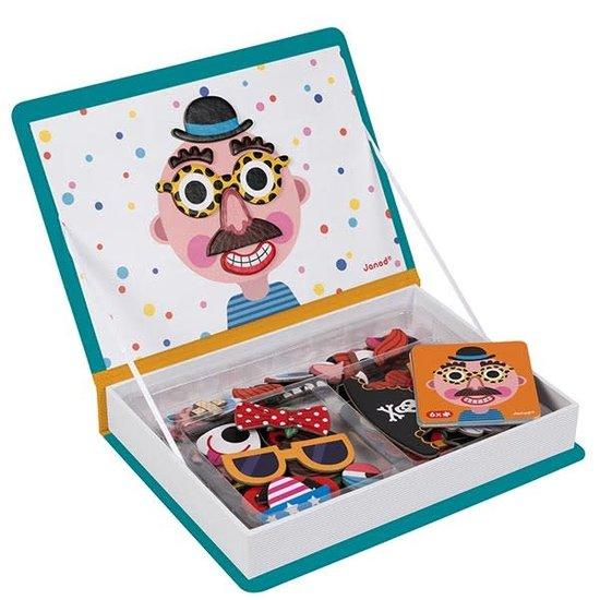 Janod speelgoed Janod - Magnetbuch verrückte Gesichter Jungen - 79 Stück 3-8 Jahren