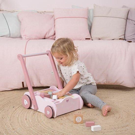 Little Dutch Lauflernwagen mit Bauklötzen - Adventure pink - Little Dutch