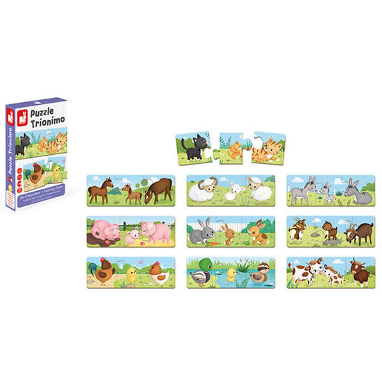 Janod speelgoed Puzzle - Trionimo Tiere - Kombinationsspiel - Janod +3 Jahren