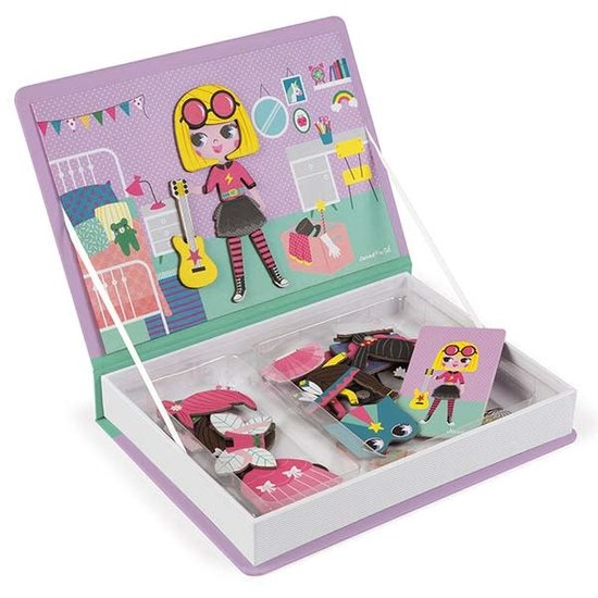 Janod speelgoed Janod - Magnetic Book Girl's Costumes - 54pcs 3-8yrs