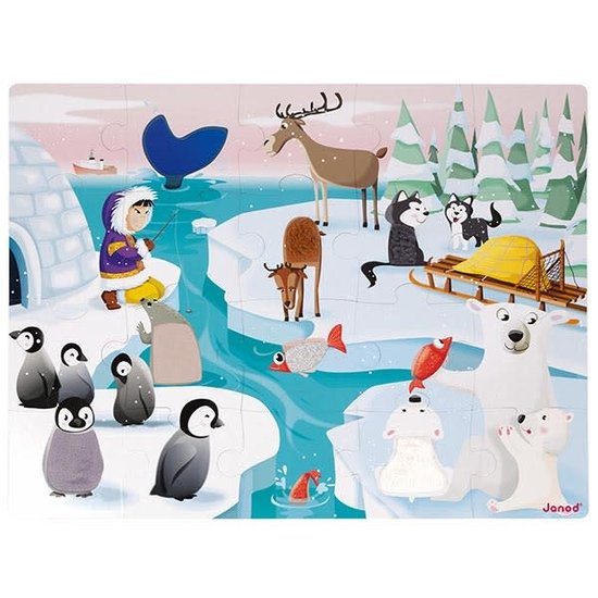 Janod speelgoed Tactile puzzle - Life on the ice - Janod 20pcs +3yrs