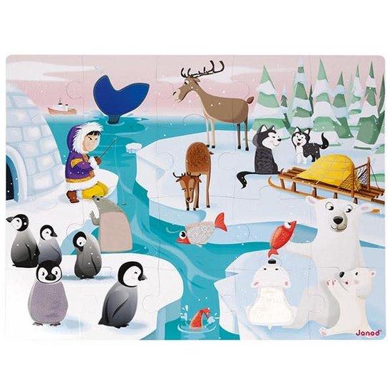 Janod speelgoed Voelpuzzel - Het leven op het ijs - Janod 20st +3jr