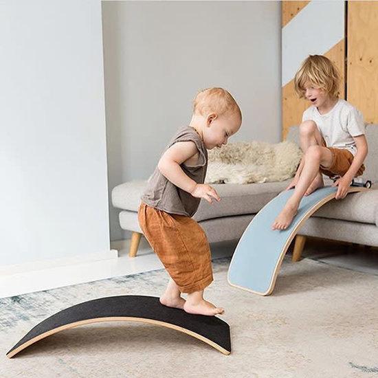 Wobbel Balance Board - Wobbel Pro - Blank gelakt met vilt - Lucht-blauw