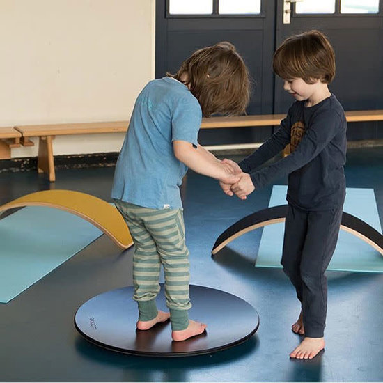 Wobbel Balance Board - Wobbel Pro - Blank gelakt met vilt - Mosterd
